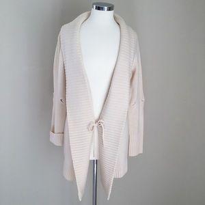 BCBGMaxAzria Cream Cardigan with Front-Tie
